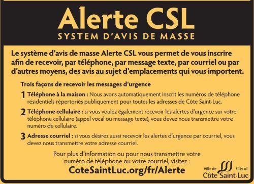 alerte CSL system d'avis