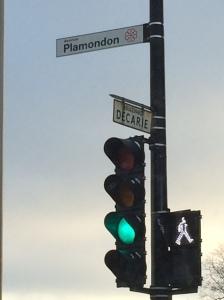 Wishful thinking: Green light at Plamondon and Decarie.