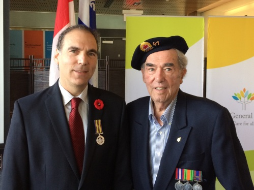 Remembrance Day ceremony at the Jewish General Hospital with my father, George Nashen