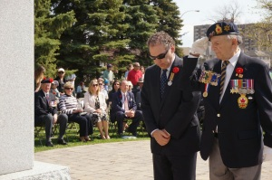 I am honoured to place a wreath at the cenotaph on behalf of  CSL Public Safety and all those who serve, both volunteers and professional (Photo Darryl Levine)