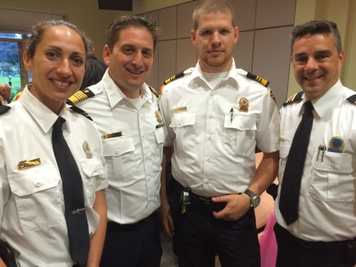 Police Lt. Julie Bessette, CSL PS Director Jordy Reichson, PS Chief Philip Chateauvert, Police Commander Marc Cournoyer
