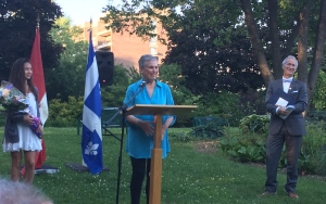 Paula Brauer Shuster accepting the D'Arcy McGee Citizenship Medal in Ashkelon Gardens