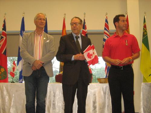 MNA David Birnbaum, MP Irwin Cotler and Mayor Anthony Housefather welcome the new citizens to CSL, Quebec and Canada