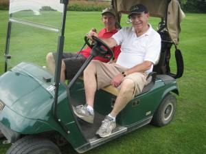 CSL Golf Classic co-chairs Mike Cohen and Sam Goldbloom relaxing after a brutal 9 holes!