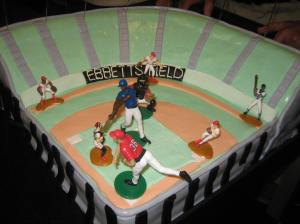 Ron Yarin was presented with a birthday cake sculpted as  Ebbets Field in NY