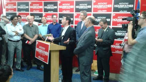 Anthony Housefather wows the packed crowd as he launches his campaign headquarters