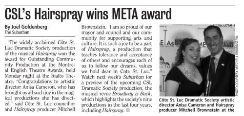 CSL Dramatic Society's Hairspray wins big award