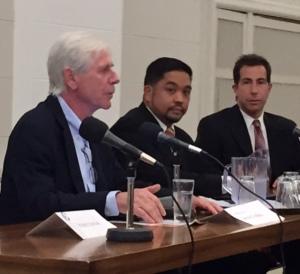 Anthony Housefather debates Mario Rimbao with moderator Dennis Trudeau