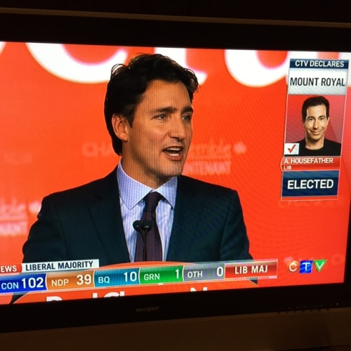 Prime Mionister Elect Justin Trudeau delivers his acceptance speech as Anthony Housefather is declared elected by CTV News