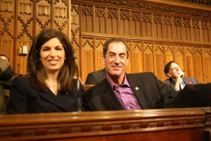 Elaine and Mitchell Brownstein in the Senate Chambers (2015)