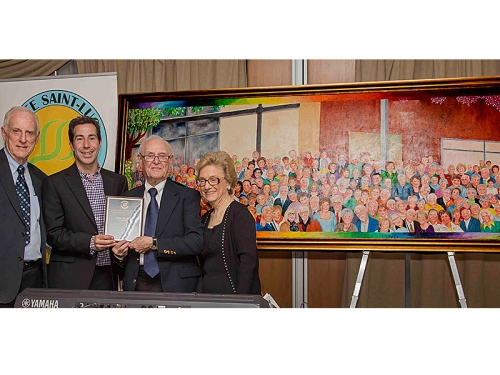 Phil Kurtz, second from right, with wife Eleanor, is presented with a token of appreciation by then mayor Anthony Housefather, as Côte St. Luc Senior Men's Club president Syd Kronish, left, looks on CHARLES EKLOVE PHOTO