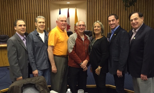 Acting Mayor Glenn J. Nashen, Supervisor Mitchell Herf, Patroller of the Year Issie Karpman, Supervisors Lewis Cohen and Susie Schwartz, Councillors Mitchell Brownstein and Sam Goldbloom