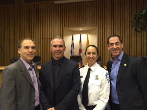 Acting Mayor Glenn J. Nashen, Police Commander Jean O'Malley, Lt. Julie Bessette, Councillor Mitchell Brownstein