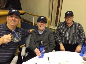 vCOP Patrollers Feed Golt, Gerry Goldenberg and Jacques Berkowitz share a laugh as they are presented with a Montreal Police cap