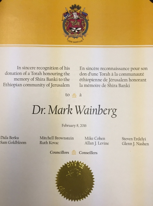 Wainberg 2016 Torah donation