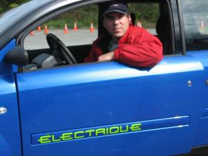 I visited the ZENN (Zero Emission No Noise) Auto manufacturer in St. Jerome in Oct. 2008 and took this early model electric for a spin around the test track