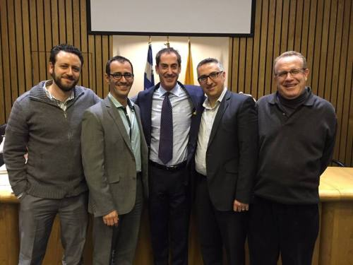 District 7 candidates Mitch Kujavsky, David Tordjman, Sidney Benizri and Lloyd Pedvis with Mayor Mitchell Brownstein in the Council Chambers. Who will be the successful candidate?