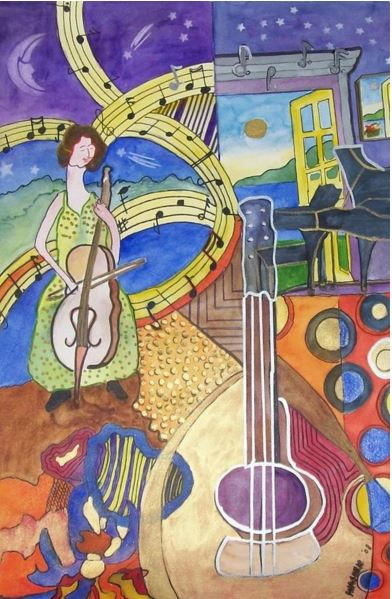 Music Music Music, watercolour by Phyllis Nashen