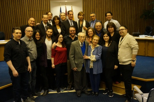 Sam and margaret Newman surrounded by their family and the Cote Saint-Luc City Council at last night's public meeting