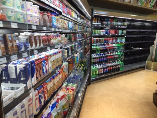 Plenty of dairy products and cold drinks