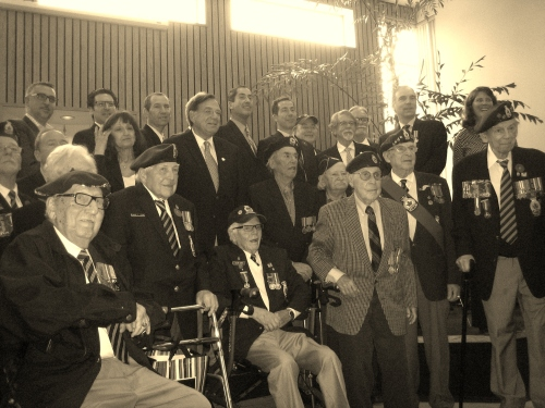 WWII veterans at CSL City Hall, including Eddy Wolkove (seated left), Allan Rubin (seated right), former cllr. Isadore Goldberg and George Nashen