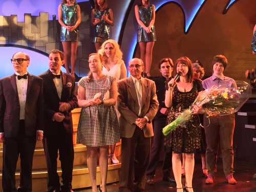 CSLDS Director Anisa Cameron, Segal Director Lisa Rubin, Yiddish Theatre President Aaron Gonshor and the formidable cast of The Producers