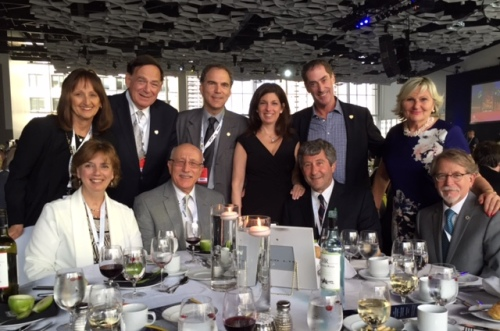 Gala dinner FCM 2016 - Standing: Cllr. Ruth Kovac, Cllr. Sam Goldbloom, Cllr. Glenn J. Nashen, Elaine Brownstein, Mayor Mitchell Brownstein, Doris Steinberg. Seated: Cllr. Dida Berku, Jacob Kincler, Tree Canada Executive Director Michael Rozen, Mayor William Steinberg.