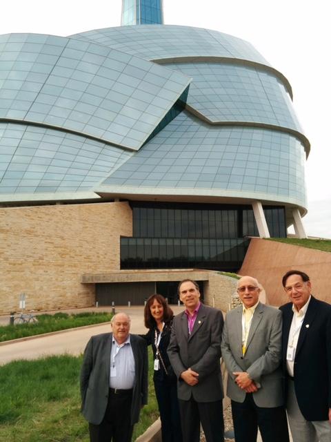 St. Leonard Borough Mayor Michel Bissonet, Cllr. Ruth Kovac, Cllr. Glenn J. nashen, Jacob Kincler and Cllr. Sam Goldbloom at the Canadian Museum of Human Rights, Winnipeg