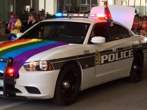 Winnipeg Police car decorated for the Pride parade