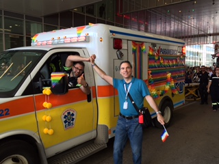 Hi 5 to Winnipeg EMS showing their pride