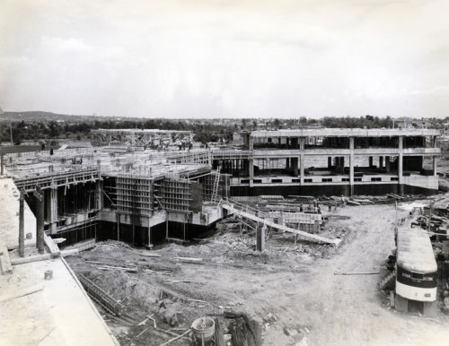 Construction underway on the Maimonides Geriatric Hospital in Cote Saint-Luc, 1964 (Source: Donald Berman Maimonides)