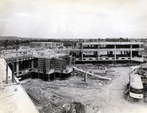 Construction underway on the Maimonides Geriatric Hospital in Cote Saint-Luc, 1964 (Source: Donald Berman Maimonides)