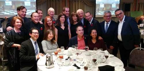 Mens Club President Sydney Kronish flanked by Member of Parliament Anthony Housefather, Member of the National Assembly David Birnbaum, Mayor Mitchell Brownstein and Members of Council and spouses