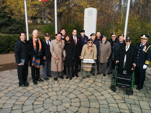 WWII veterans of Royal Canadian Legion Branch 97 with MP Anthony Housefather, MNA David Birnbaum, Mayor Mitchell Brownstein and Members of Council. My father, George Nashen, fourth from left. (Photo Darryl Levine, CSL).