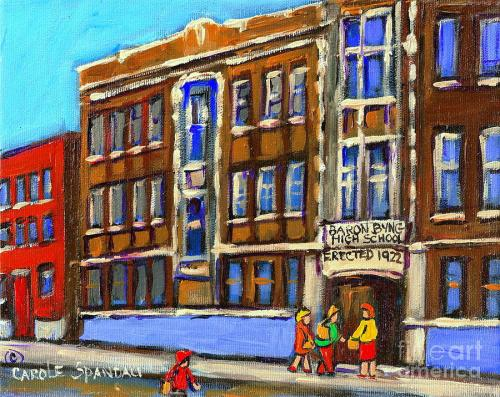 baron-byng-high-school-4251-st-urbain-street-plateau-montreal-city-scene-carole-spandau-montreal-a-carole-spandau