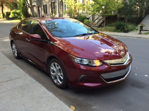 My new 2017 Chevy Volt parked in Westmount